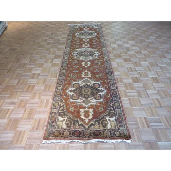 Hand Knotted Heriz Wool Fine Persian Oriental Area Rug: Shop Fine Serapi Heriz Oriental Rust Red Wool Hand-knotted