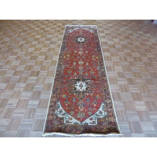 Fine Serapi Heriz Oriental Rust Red Wool Hand-knotted Rug (3'1 x 10)