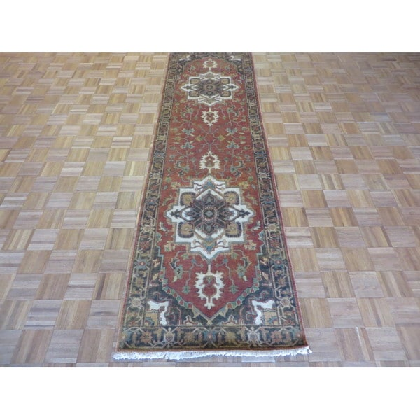 Fine Serapi Heriz Oriental Rust Red Wool Hand-knotted Rug (2'11 x 10'2)