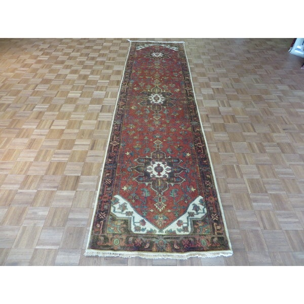 Hand Knotted Heriz Wool Fine Persian Oriental Area Rug: Shop Fine Serapi Heriz Rust Red/Ivory Wool Hand-knotted