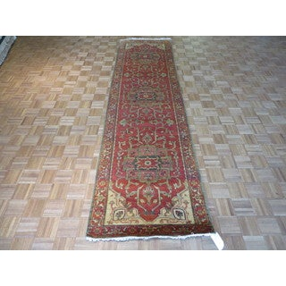 Fine Serapi Heriz Oriental Rust Red Wool Hand-knotted Rug (3'2 x 11'9)