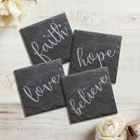 Love, Faith, Hope, Believe Slate Coasters (Set of 4)