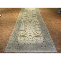 Oushak Ivory Wool Hand-knotted Oriental Rug - 6'1 x 17'6