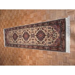 Kashan Beige Hand-knotted Wool Oriental Rug (3 x 9'8)