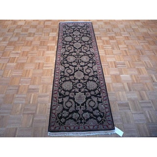 Agra Black Wool Hand-knotted Oriental Rug (2'6 x 7'11)