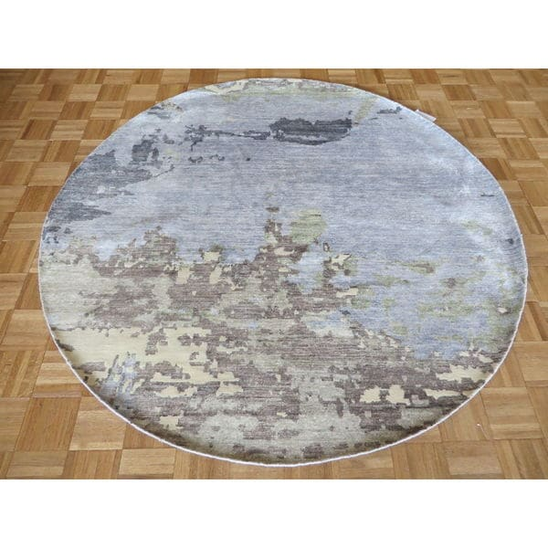 Sky Blue Hand-knotted Modern with Bamboo Oriental Rug (6'3 x 6'3)