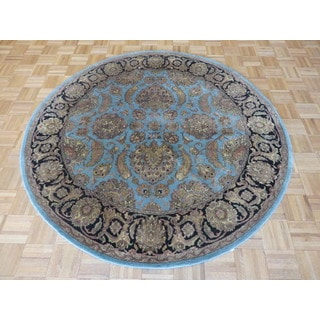 Sky Blue Wool Hand-knotted Agra Oriental Rug (6 x 6)