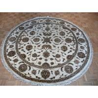 Tabriz Ivory Wool/Silk Hand-knotted Oriental Rug - 8'1 x 8'1
