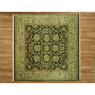 Agra Oriental Black Wool Hand-knotted Area Rug (6'1 x 6'2)