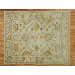 Ivory Wool Hand-knotted Oushak Oriental Rug (8 x 9'10)