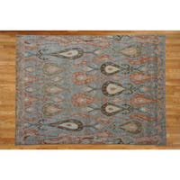 Hand-knotted Light Blue Ikat Wool Oriental Rug (8' x 10')