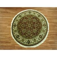 Burgundy Wool Hand-knotted Agra Oriental Rug (5' in diameter) - 5'