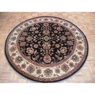 Black Agra Wool Hand-knotted Oriental Rug (6' in diameter)