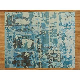 Light Blue Bamboo Silk Hand-knotted Modern Oriental Rug (8'2 x 9'10)