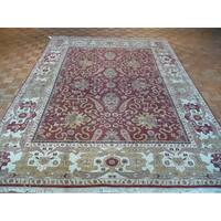 Red Wool Hand-knotted Oushak Oriental Rug - 9' x 11'9