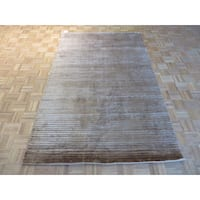 Oriental Brown Bamboo Silk Hand-knotted Area Rug - 5'2 x 8'1