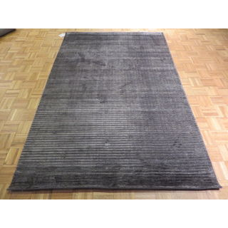 Dark Grey Viscose from Bamboo Silk Hand-knotted Oriental Rug (5'3 x 8')