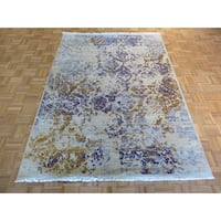 Ivory Silk Blend Hand-knotted Modern Oriental Rug - 5'7 x 7'9