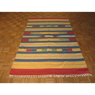 Dhurry Kilim Oriental Multicolor Cotton Hand-knotted Area Rug (5'1 x 7'5)