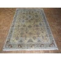 Fine Turkish Oushak Beige Wool Hand-knotted Oriental Rug - 6'1 x 8'9