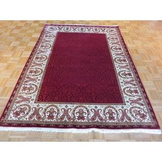 Tabriz Oriental Red Wool/Silk Hand-knotted Rug (5'6 x 7'6)