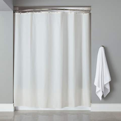 "Vinyl Shower Curtain Liner With 12-piece Chrome Roller Hook Set - 70""l x 72""w"