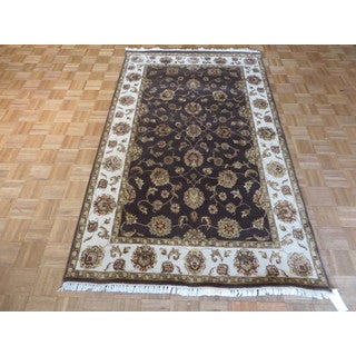 Agra Oriental Brown Wool/Silk Hand-knotted Rug (4'10 x 8')
