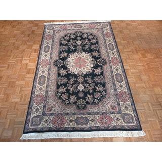 Fine Tabriz Oriental Dark Green Wool Hand-knotted Area Rug (6 x 9'9)