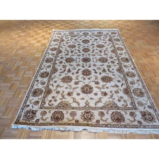 Tabriz Ivory Wool and Silk Hand-knotted Oriental Rug (6'1 x 9'1)