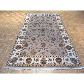 Tabriz Grey Wool/Silk Hand-knotted Oriental Rug (5'11 x 9'3)