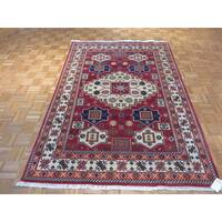 Kazak Oriental Red Wool Hand-knotted Area Rug - 5'6 x 7'10