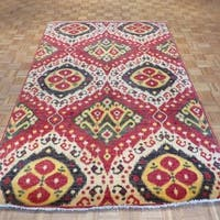 Red Wool Hand-knotted Ikat Oriental Rug - 6'6 x 9'10