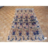 Ikat Sari Beige Silk/Rayon From Bamboo Hand-knotted Oriental Rug - 5' x 8'