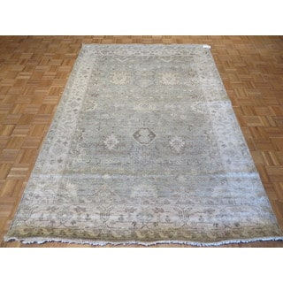 Oushak Oriental Ivory, Blue, Green, Gold, Brown Viscose from Bamboo Silk Hand-knotted Rug (6' x 9')