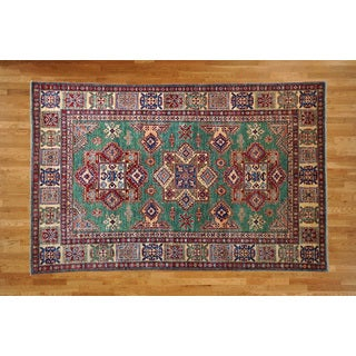 Kazak Oriental Ivory/Blue/Red/Green/Navy/Gold Wool Hand-knotted Rug (5'9 x 8'10)