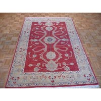 Peshawar Red Wool Hand-knotted Oriental Rug - 5'7 x 7'11