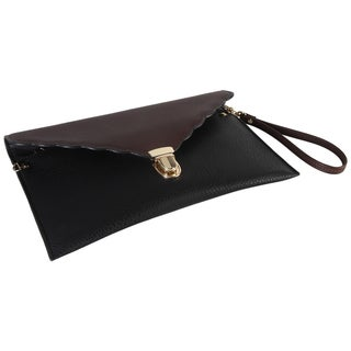 Two-Tone Large Envelope Clutch With Push Lock and Wristlet Strap