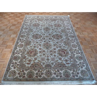 Light Blue Agra Wool Hand-knotted Oriental Rug (6 x 8'11)