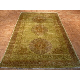 Light Green Tabriz Wool Hand-knotted Oriental Rug (5'11 x 8'9)