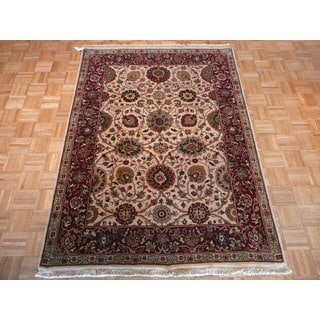 Agra Beige Wool Hand-knotted Oriental Rug (5' x 6'11)