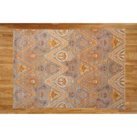 Light Blue Wool Hand-knotted Ikat Oriental Rug (6'2 x 9'3)