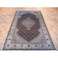 Black Mahi Tabriz with Wool and Silk Hand-knotted Oriental Rug - 5'1 x 8'2