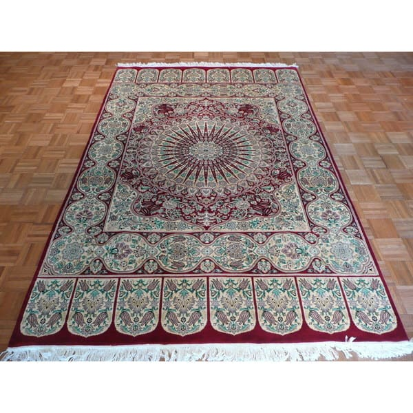 Tabriz Red Blue Green Wool Oriental Hand Knotted Area Rug 5 11 X 9 2 On Sale Overstock 13450825
