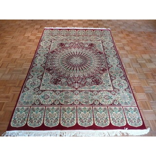 Tabriz Red/Blue/Green Wool Oriental Hand-knotted Area Rug (5'11 x 9'2)