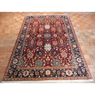 Oriental Rust Wool Hand-knotted Nouveau Antique Rug (6' x 8'10)