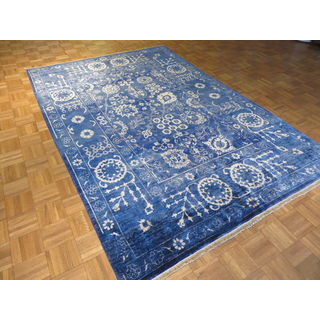 Blue Bamboo Silk Hand-knotted Oushak Oriental Rug (6' x 9')