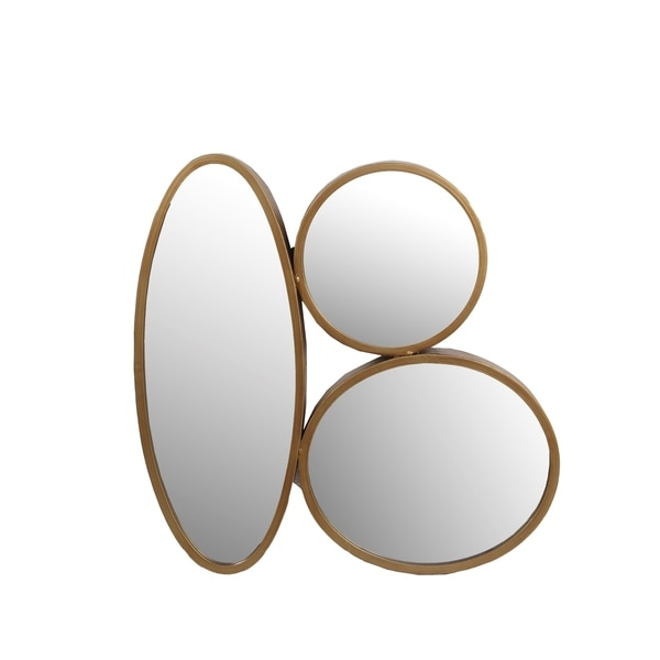 Privilege Gold-tone Metal 3-oval Mirror