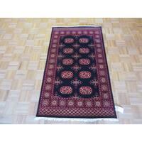Bokara Oriental Black Wool Hand-knotted Area Rug - 3' x 5'1