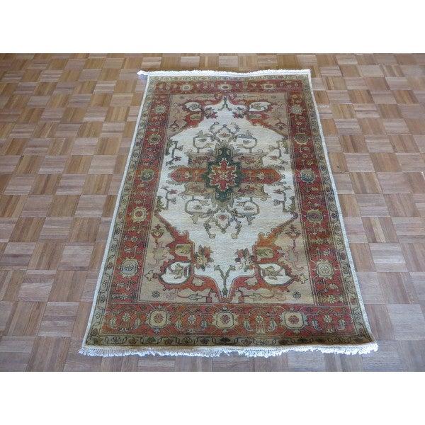 Hand Knotted Heriz Wool Fine Persian Oriental Area Rug: Shop Fine Serapi Heriz Oriental Ivory Wool Hand-knotted