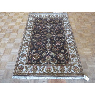 Brown Wool and Silk Hand-knotted Tabriz Oriental Rug (4 x 6'3)